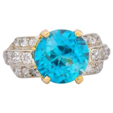 Edwardian 8.78 CTW Zircon Diamond 14 Karat Two-Tone Gold Ring Circa 1915