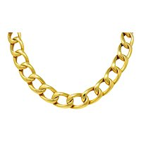 Vintage Unisex 18 Karat Gold 18 Inch Curb Chain Necklace