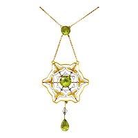Art Nouveau 2.60 CTW Peridot Platinum 14 Karat Gold Drop Necklace