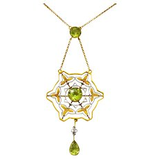Art Nouveau 2.60 CTW Peridot Platinum 14 Karat Gold Drop Necklace