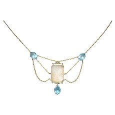 Art Nouveau Rock Crystal Mother of Pearl Aquamarine 18 Karat Gold Swag Necklace