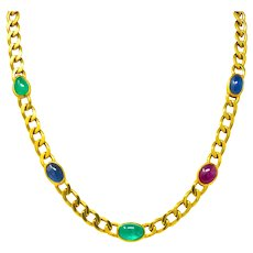 David Webb 20.00 CTW Ruby Sapphire Emerald 18 Karat Gold Curb Necklace