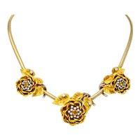 Retro 1.00 CTW Citrine Diamond Platinum 14 Karat Tri-Colored Gold Flower Necklace