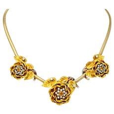Retro Citrine Diamond Platinum 14 karat Tri-Colored Gold Flower Necklace Circa 1940