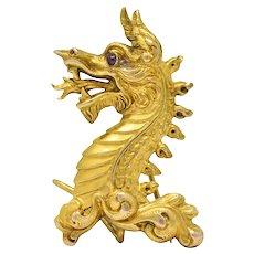 Late Victorian 14 Karat Gold Dragon Brooch Circa 1890