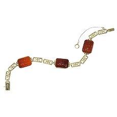Theberath & Co. Art Nouveau Carnelian 14 Karat Gold Bracelet