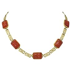 Theberath & Co. Art Nouveau Carnelian 14 Karat Gold Necklace