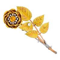 Retro Citrine Diamond Platinum 14 Karat Tri-Colored Gold Flower Pendant Brooch Circa 1940