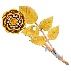 Retro Citrine Diamond Platinum 14 Karat Tri-Colored Gold Flower Pendant Brooch Circa 1940