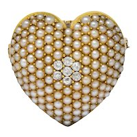 Krementz Late Victorian Diamond Seed Pearl 14 Karat Gold Heart Pendant Brooch