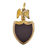 Victorian Hardstone 9 Karat Gold Eagle Shield Locket