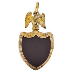 Victorian Hardstone 9 Karat Gold Eagle Shield Locket