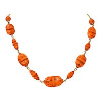 Victorian Carved Butterfly & Scarab Coral 14 Karat Gold Necklace