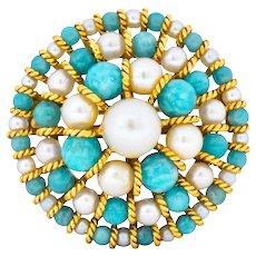 Tiffany & Co. Italy Retro Cultured Pearl Amazonite 18 Karat Gold Brooch