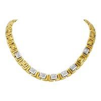 Chiampesan Modernist 0.85 CTW Diamond 18 Karat Two-Tone Gold Collar Necklace