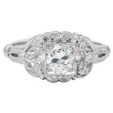 Art Deco 0.57 CTW Old European Cut Diamond Platinum Engagement Ring