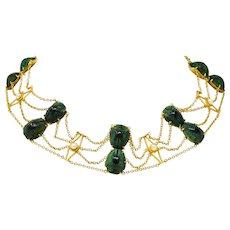 Johnston Victorian Scarab Beetle Pearl 14 Karat Gold Swag Necklace