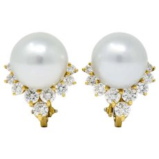 Retro 0.76 CTW Diamond Cultured South Sea Pearl 18 Karat Gold Earrings