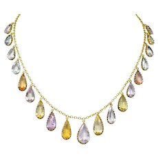 Victorian Multi-Gem 14 Karat Gold Imperial Topaz Aquamarine Drop Necklace