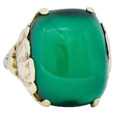Arts & Crafts Chrysoprase 14 Karat Gold Lotus Ring