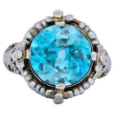Edwardian 5.00 CTW Blue Zircon Seed Pearl 18 Karat White Gold Ring