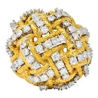 Vintage 1.60 CTW Diamond 18 Karat Gold Cocktail Ring