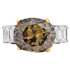 Fancy Dark Brown 6.91 CTW Diamond 18 Karat Two-Tone Gold Engagement Ring GIA