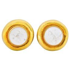 Elizabeth Gage Rock Crystal Mother Of Pearl 18 Karat Gold Ear-Clip Earrings