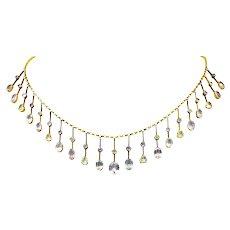 Victorian Citrine Topaz Tourmaline Multi-Gemstone 14 Karat Gold Fringe Necklace
