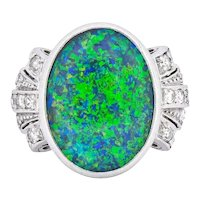Edwardian Black Opal Diamond Platinum Cocktail Ring
