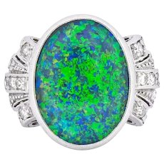 Edwardian Black Opal Diamond Platinum Cocktail Ring