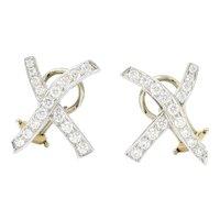 Paloma Picasso Tiffany & Co. Vintage 1.20 Carat Diamond Platinum X Kiss Earrings