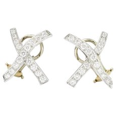 Paloma Picasso Tiffany & Co. Vintage 1.20 Carat Diamond Platinum X Kiss Earrings