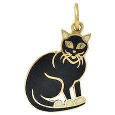 Art Nouveau Enamel 14 Karat Gold Cat Charm