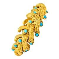 Weingrill Vintage Turquoise 18 Karat Yellow Gold Italian Link Bracelet Circa 1970's