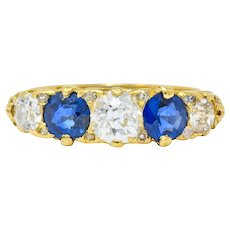 1890 Victorian 2.45 CTW Diamond Sapphire 18 Karat Gold Scrolled Band Ring