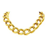 Henry Dunay Vintage 18 Karat Gold Faceted Curb Link Necklace Circa 1980