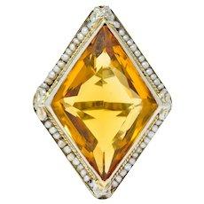 1920 Edwardian Citrine Seed Pearl 18 Karat White Gold Cocktail Ring