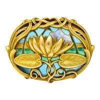 Riker Brothers Art Nouveau Enamel 14 Karat Gold Lotus Lilypad Brooch