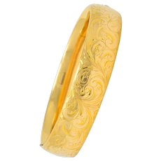 1900 Victorian 14 Karat Yellow Gold Floral Foliate Bangle Bracelet