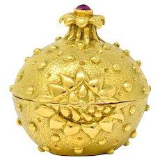 Schlumberger Tiffany & Co. Ruby 18 Karat Gold Pomegranate Pill Box Circa 1960