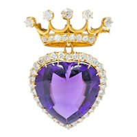 Victorian 3.30 CTW Amethyst Diamond 18 Karat Gold Crowned Heart Pendant Brooch