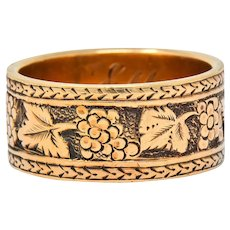 Detailed Victorian 14 Karat Gold Grapevine Band Ring Circa 1860