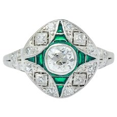 Art Deco Diamond Plique-à-jour Enamel Platinum Dinner/Engagement Ring