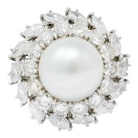 1980 Vintage 5.32 CTW Diamond Cultured South Sea Pearl Platinum Cluster Ring