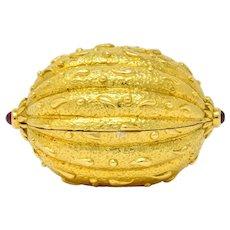 Schlumberger Tiffany & Co. Ruby 18 Karat Gold Walnut Pill Box Circa 1960