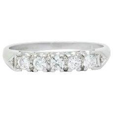 1940 Retro Round Brilliant Diamond Platinum Fishtail Band Stacking Ring