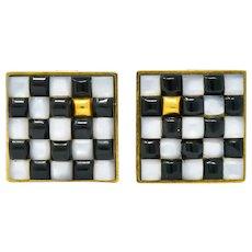Angela Cummings 1986 Onyx Mother-of-Pearl 18 Karat Gold Checkerboard Earrings