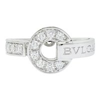 Bulgari Bvlgari Diamond 18 Karat White Gold Circle Ring
