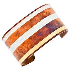1978 Tiffany & Co. Angela Cummings Mixed Metal Striped Cuff Bracelet